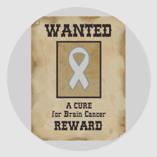 Wanted: A Cure for Brain Cancer Classic Round Sticker