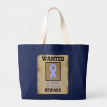 Wanted: A Cure for Cancer - Lavender Ribbon Large Tote Bag