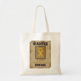 Wanted: A Cure for Childhood Cancer Gold Ribbon Tote Bag