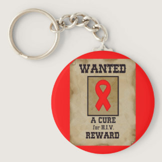 Wanted: A Cure for HIV Keychain
