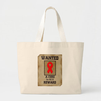 Wanted: A Cure for HIV Large Tote Bag