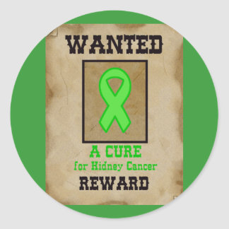 Wanted: A Cure for Kidney Cancer Classic Round Sticker