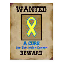 Wanted: A Cure for Testicular Cancer Postcard