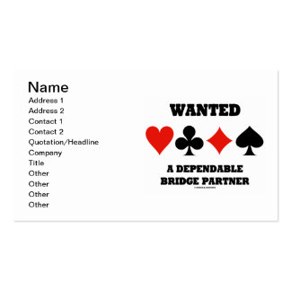 Wanted A Dependable Bridge Partner (Card Suits) Business Card