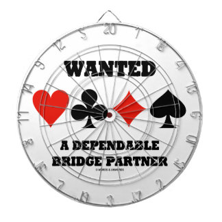 Wanted A Dependable Bridge Partner (Card Suits) Dartboard