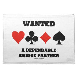 Wanted A Dependable Bridge Partner (Card Suits) Cloth Placemat