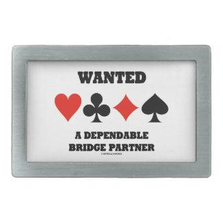 Wanted A Dependable Bridge Partner (Card Suits) Rectangular Belt Buckle