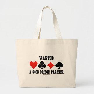 Wanted A Good Bridge Partner (Bridge Attitude) Large Tote Bag