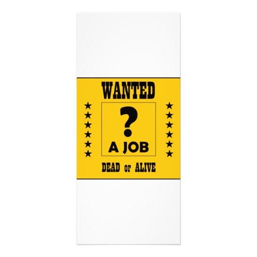 Wanted... a Job ! Custom Rack Cards