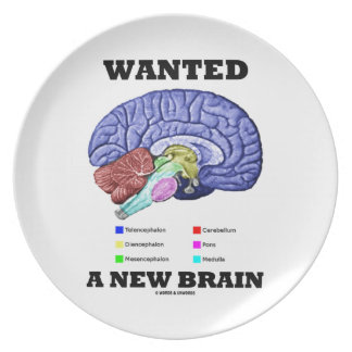 Wanted A New Brain (Anatomical Brain Attitude) Dinner Plate