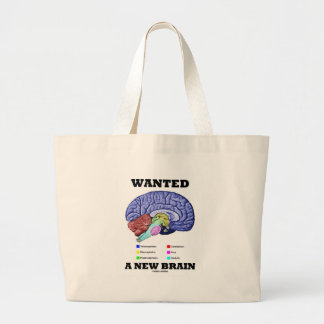 Wanted A New Brain (Anatomical Brain Attitude) Large Tote Bag