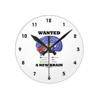 Wanted A New Brain (Anatomical Brain Attitude) Round Clock