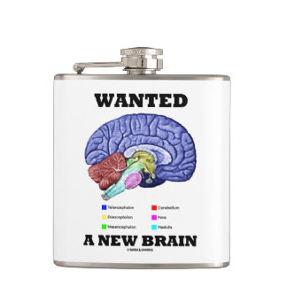 Wanted A New Brain Anatomical Brain Humor Flask