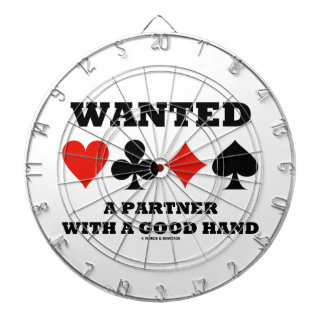 Wanted A Partner With A Good Hand Four Card Suits Dartboard With Darts