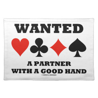 Wanted A Partner With A Good Hand Four Card Suits Cloth Placemat