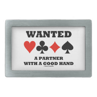Wanted A Partner With A Good Hand Four Card Suits Rectangular Belt Buckle