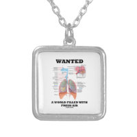 Wanted A World Filled With Fresh Air (Respiratory) Square Pendant Necklace