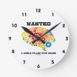 Wanted A World Filled With Gears (Brain Gears) Round Wall Clock