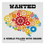 Wanted A World Filled With Gears Mechanical Brain Print