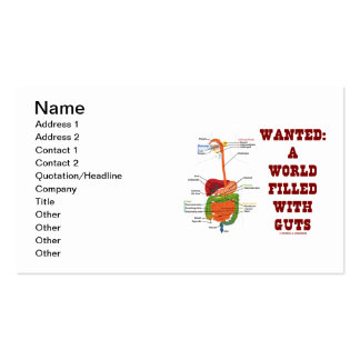 Wanted: A World Filled With Guts (Anatomical Guts) Business Cards