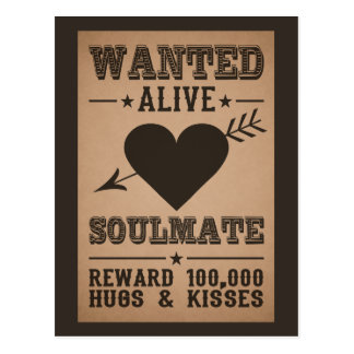 WANTED ALIVE: SOULMATE postcard