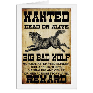 Wanted: Big Bad Wolf Greeting Cards