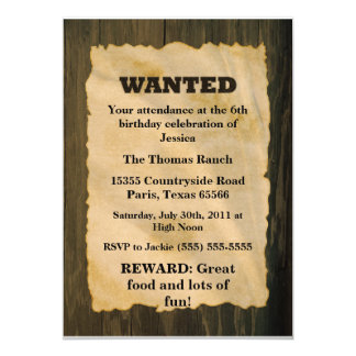 """WANTED Birthday Party 5"""" X 7"""" Invitation Card"""