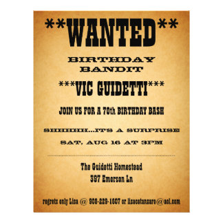Wanted Birthday Surprise Flyer