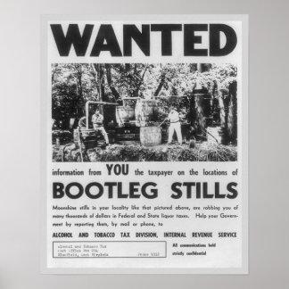 Wanted: Bootleg Stills, 1949. Vintage Poster