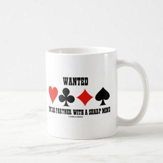 Wanted Bridge Partner With A Sharp Mind Classic White Coffee Mug