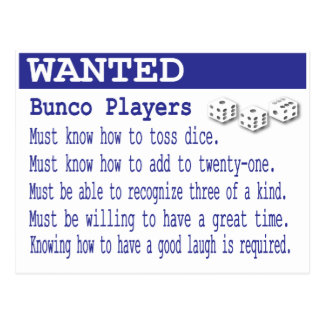 wanted bunco players postcard