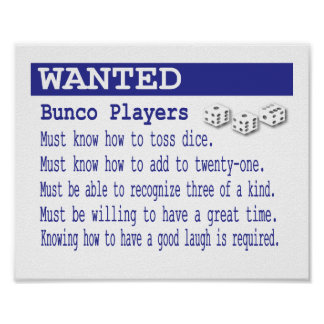 Wanted Bunco Players Poster