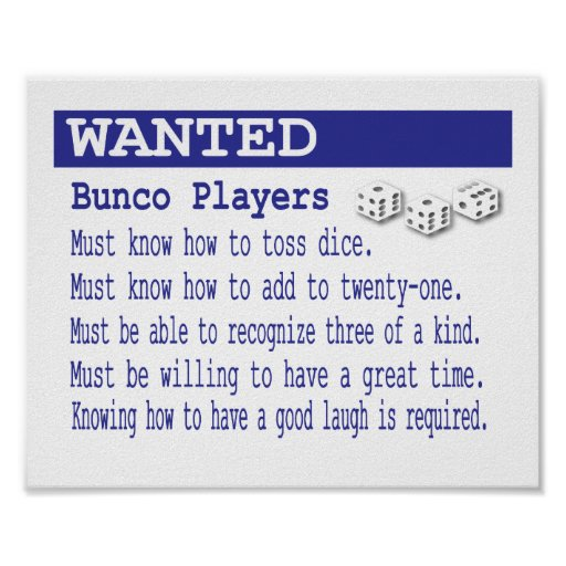 Wanted BUnco Players Poster | Zazzle