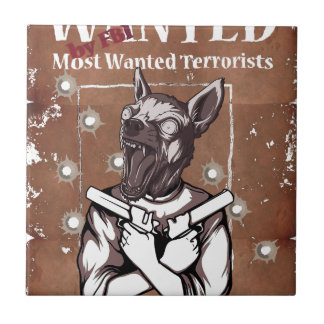 Wanted By FBI Animal Crazy Dog Ceramic Tile