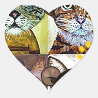 Wanted cat poster art heart sticker