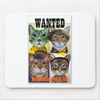 Wanted cat poster art mouse pad