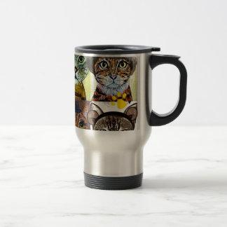 Wanted cat poster art travel mug