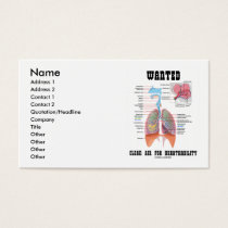 Wanted Clean Air For Breathability (Respiratory) Business Card