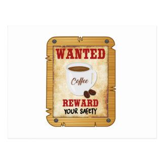 Wanted Coffee Postcard