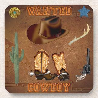 Wanted Cowboy boots hat gun cactus western Beverage Coaster