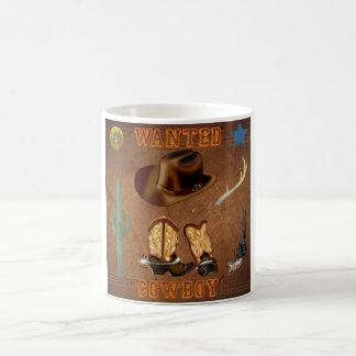 Wanted Cowboy boots hat gun cactus western Coffee Mug