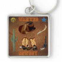 Wanted Cowboy boots hat gun cactus western Keychain