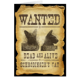 Wanted dead and alive.  Schroedinger's cat. Card