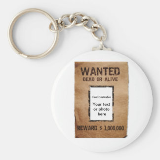 Wanted Dead or Alive Poster Basic Round Button Keychain