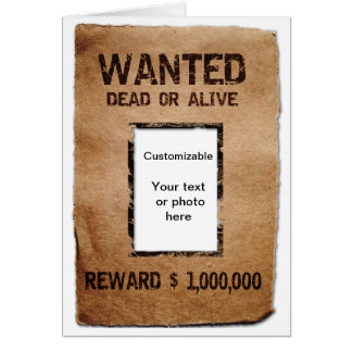 Wanted Dead or Alive Poster Greeting Card