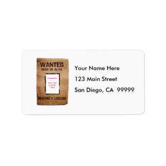 Wanted Dead or Alive Poster Label
