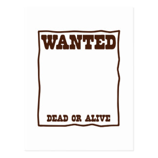 WANTED dead or Alive poster with blank background Postcard