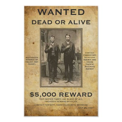 Wanted Dead or Alive U can change PIC and words Posters