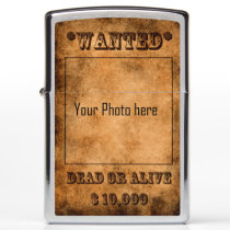 'Wanted, dead or alive, western cowboy Zippo Lighter