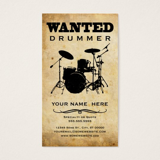 Wanted Drummer Business Card